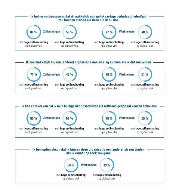 Correlatie zelfinschatting digitale vaardigheden en vertrouwensvragen – werknemers en zelfstandigen
