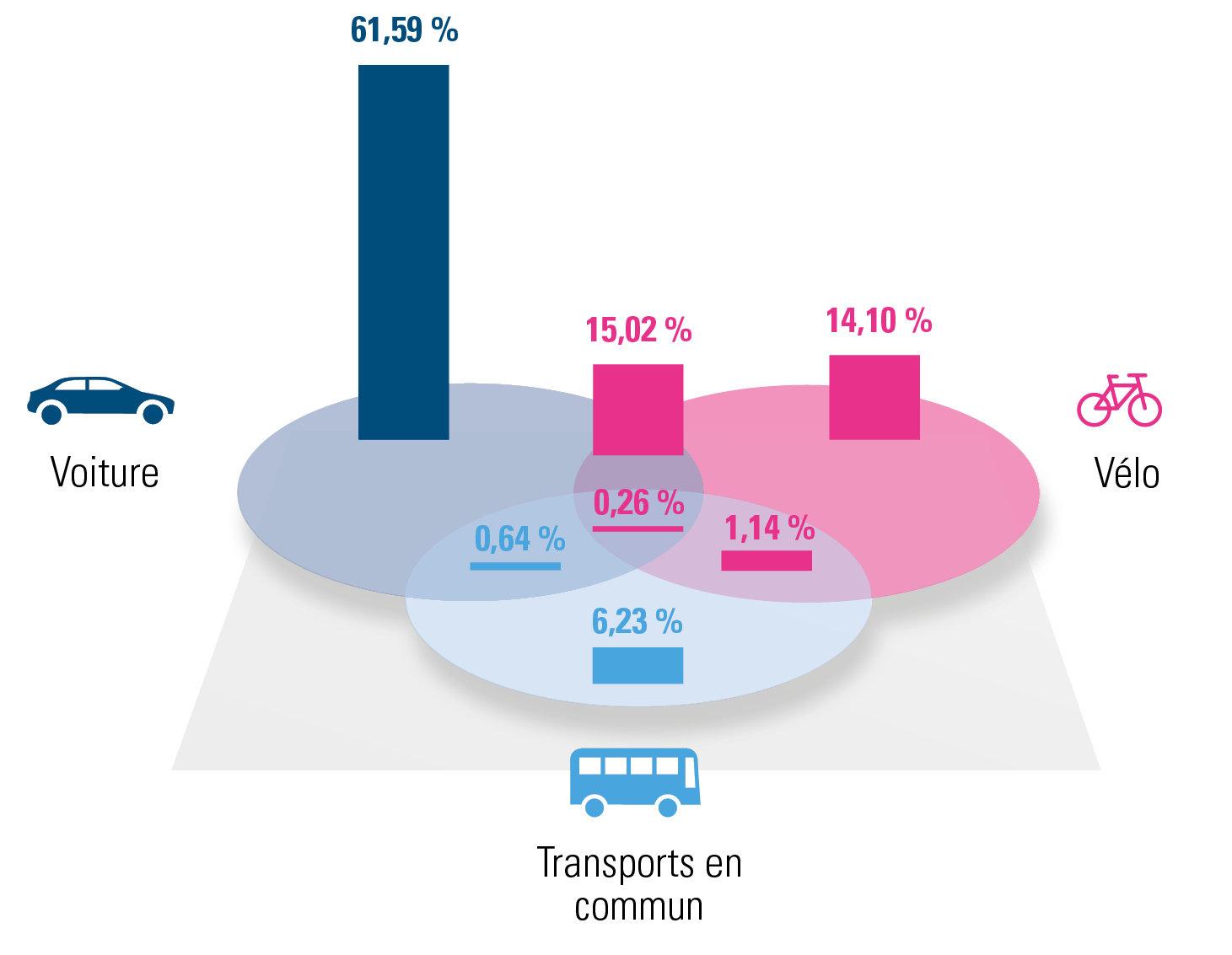 Répartition des différentes solutions de mobilité (2019)