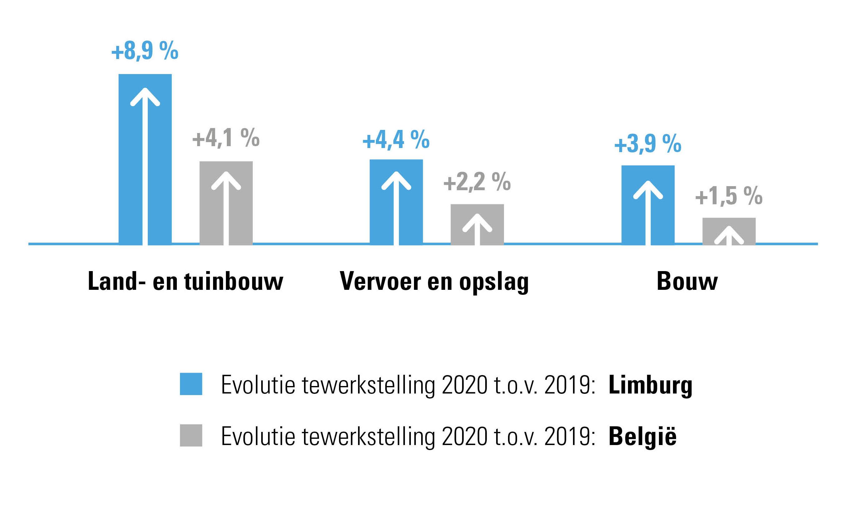 Sterkste groeisectoren in 2020 op vlak van personeelsbestand in provincie Limburg