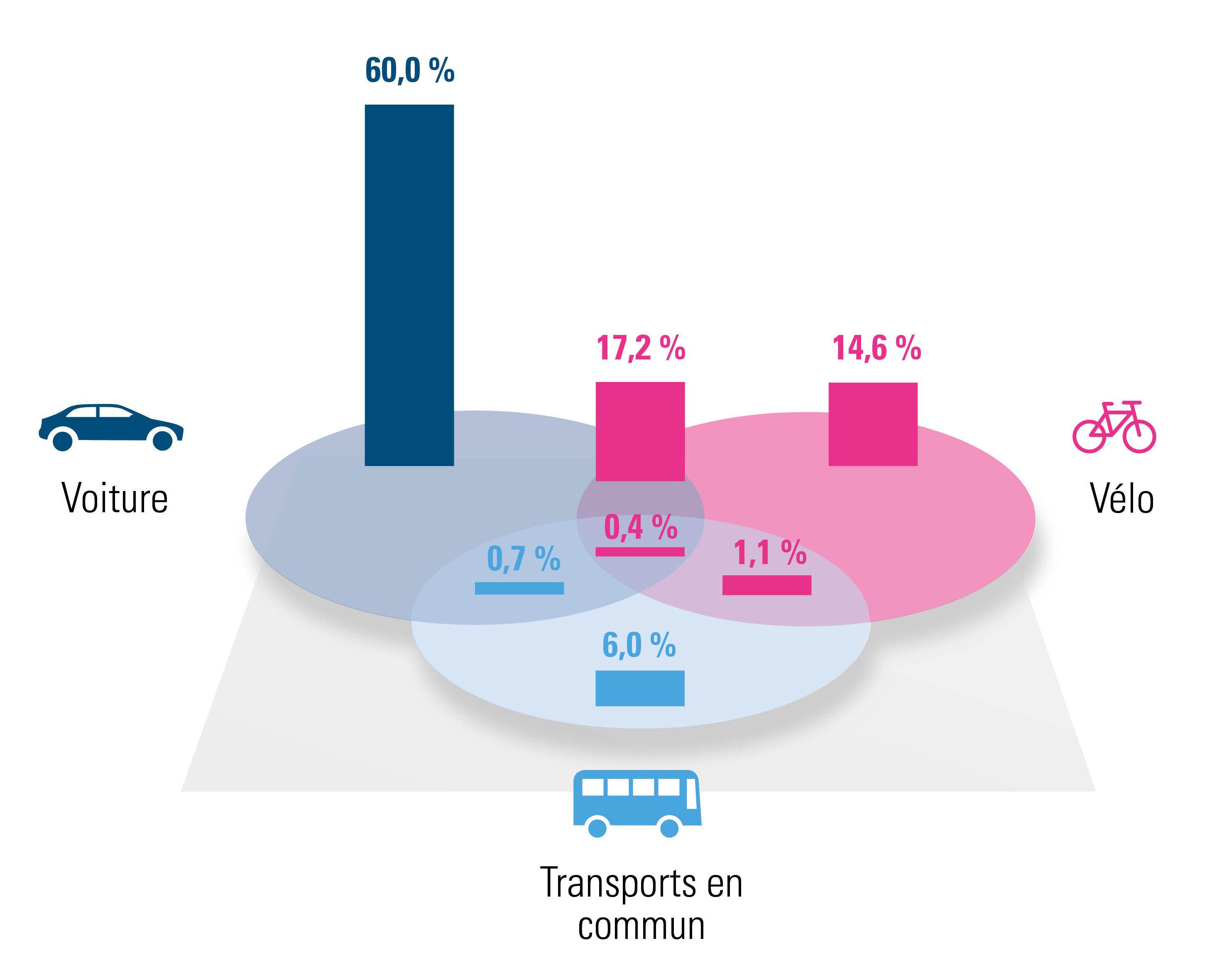 Répartition des différentes solutions de mobilité (2020)